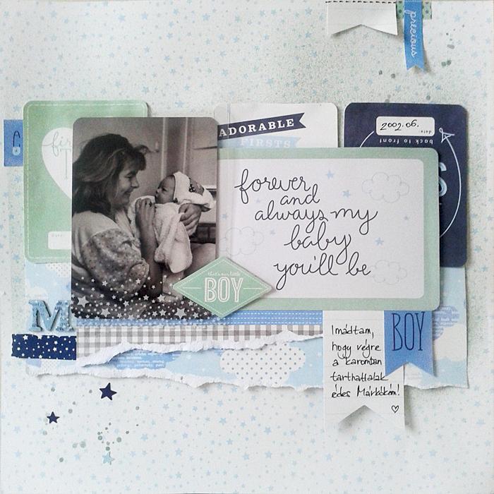 Hagyományos scrapbook oldal: Márkó baby| Budaházi Brigitta