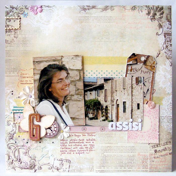 Hagyományos scrapbook oldal: Assisi   Budaházi Brigitta