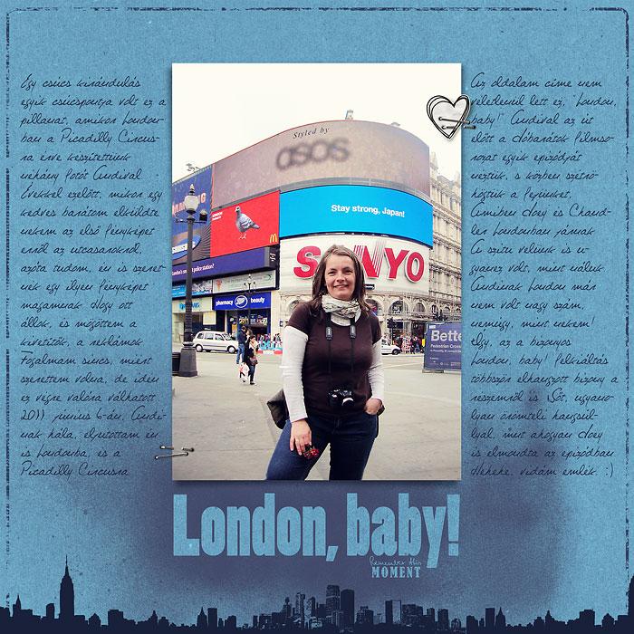 Digitális scrapbook oldal: London, baby! Scrapbook.hu januári vázlat kihívás inspiráció