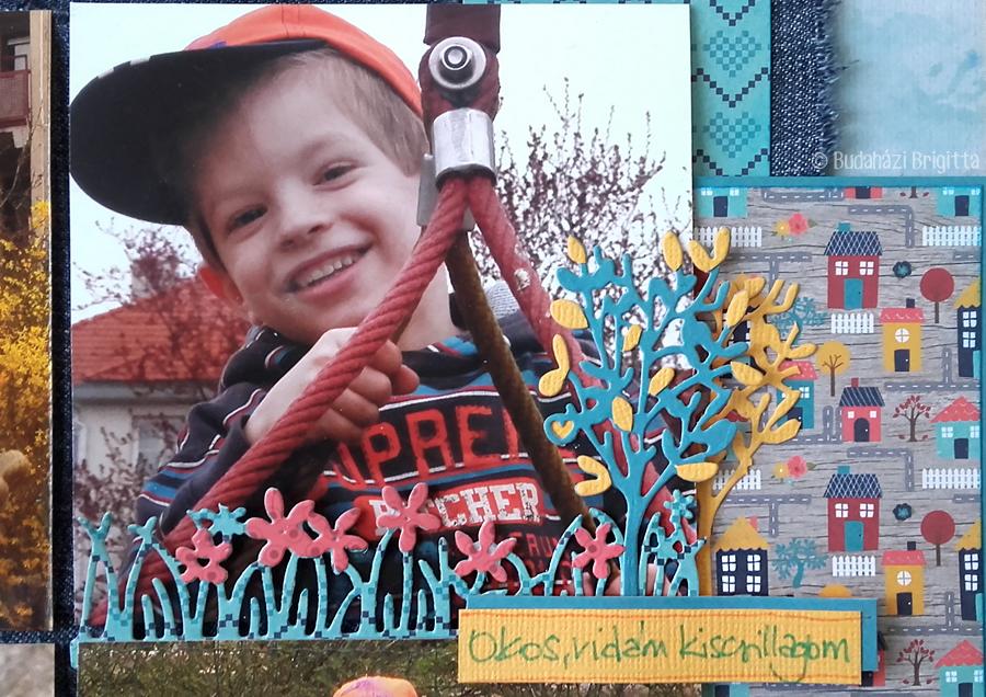 Okos, vidám kiscsillagom - hagyományos scrapbook oldal Budaházi Brigitta | Scrapbook.hu júniusi vázlatkihívás inspiráció