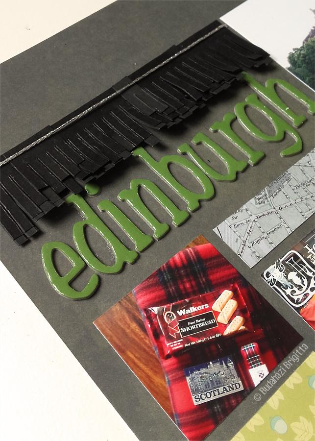 Edinburgh - hagyományos scrapbook oldal Budaházi Brigitta | Scrapbook.hu júliusi vázlatkihívás inspiráció