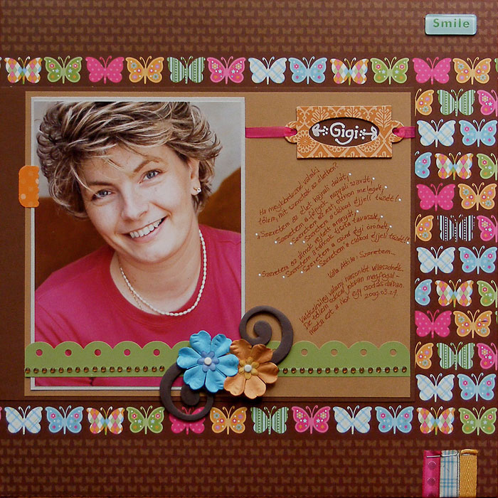 Budaházi Brigitta: Gigi | hagyományos scrapbookoldal, készült 2009-ben
