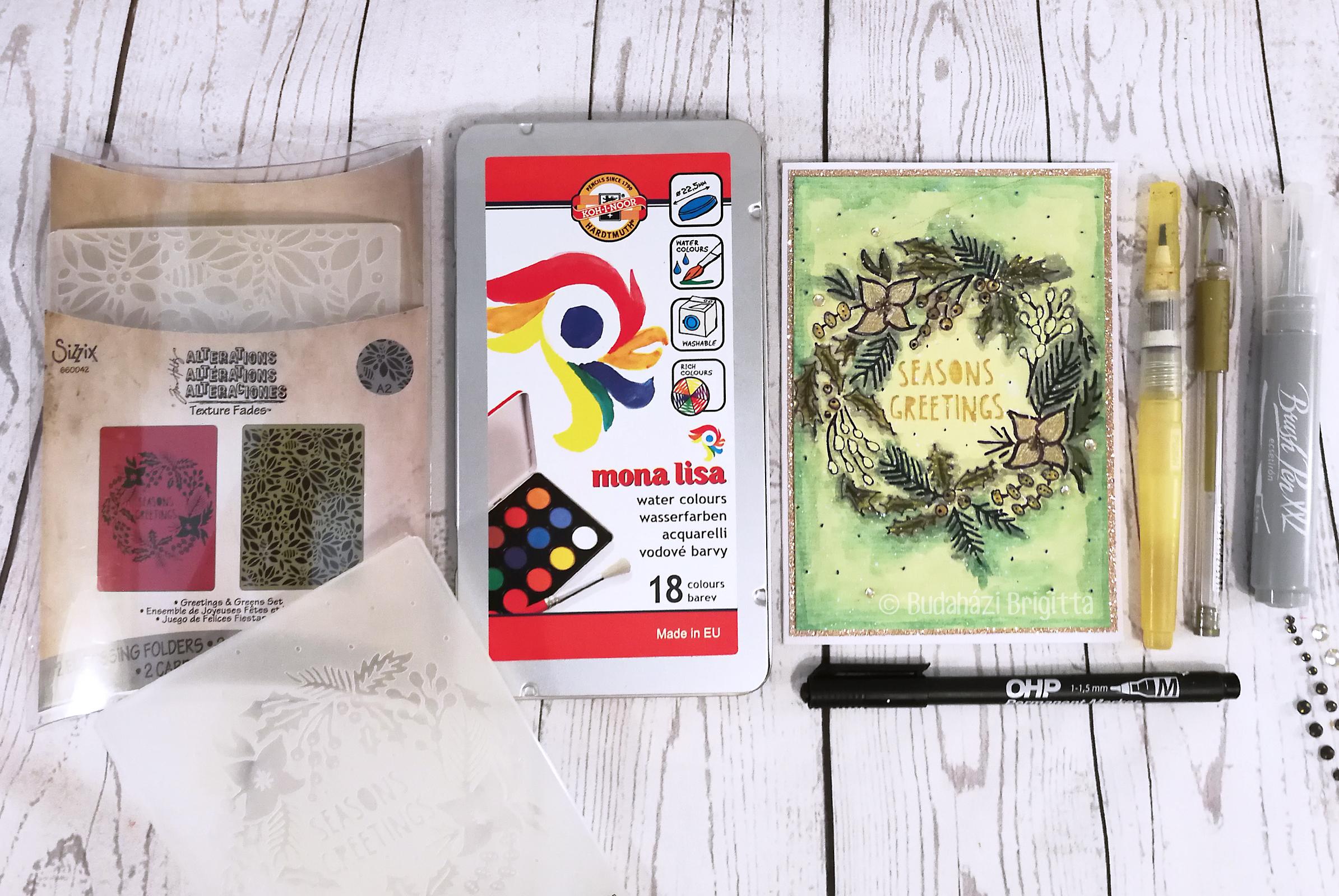 Klasszikus karácsonyi színek - Domborított képeslapok színezése különféle technikákkal | Budaházi Brigitta - Scrapbook.hu