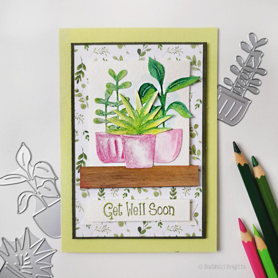 Get Well Soon Budaházi Brigitta: Sizzix kivágatokkal díszített képeslapok vegyes technikával