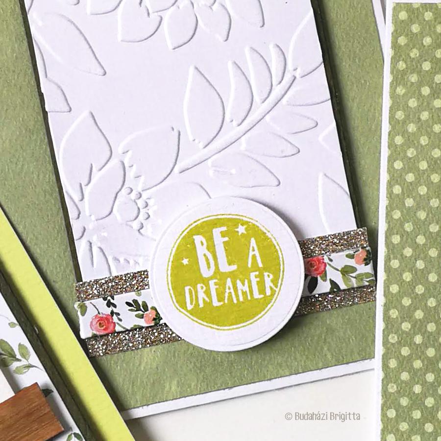 Részletfotó - Be a Dreamer | Budaházi Brigitta: Sizzix kivágatokkal díszített képeslapok vegyes technikával