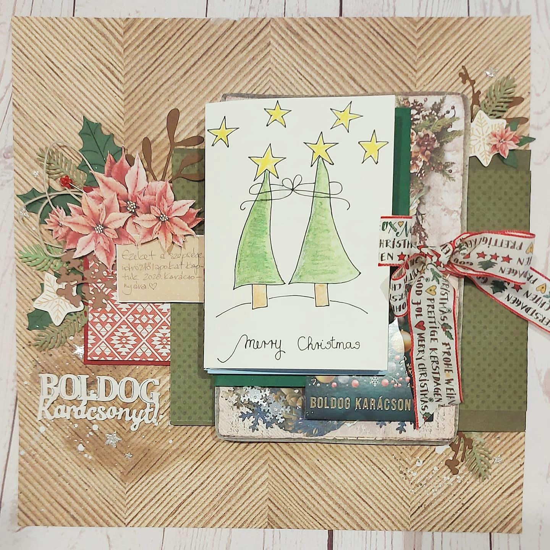 Boldog Karácsonyt | 2020. évi karácsonyi képeslapok Budaházi Brigitta - hagyományos scrapbookoldal