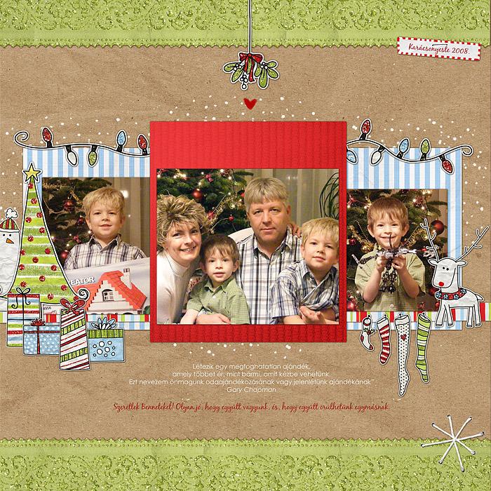 Scrapbook karácsony után | Budaházi Brigitta: Karácsonyeste 2008. digitális scrapbook oldal