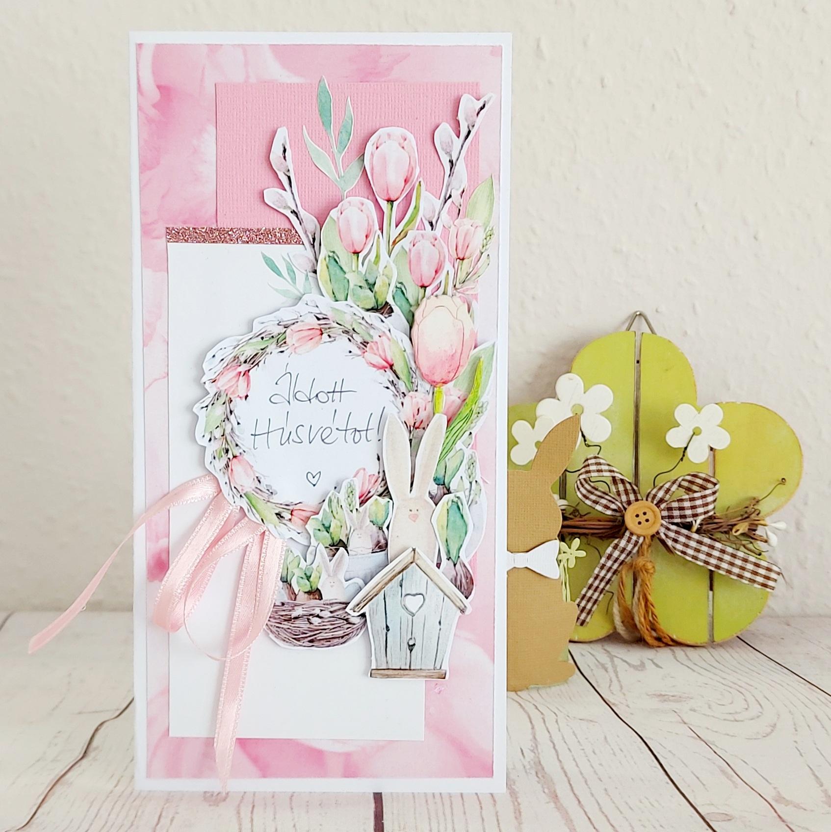 Tulipános húsvéti képeslap Budaházi Brigitta | Négy húsvéti képeslap scrapbooktechnikával