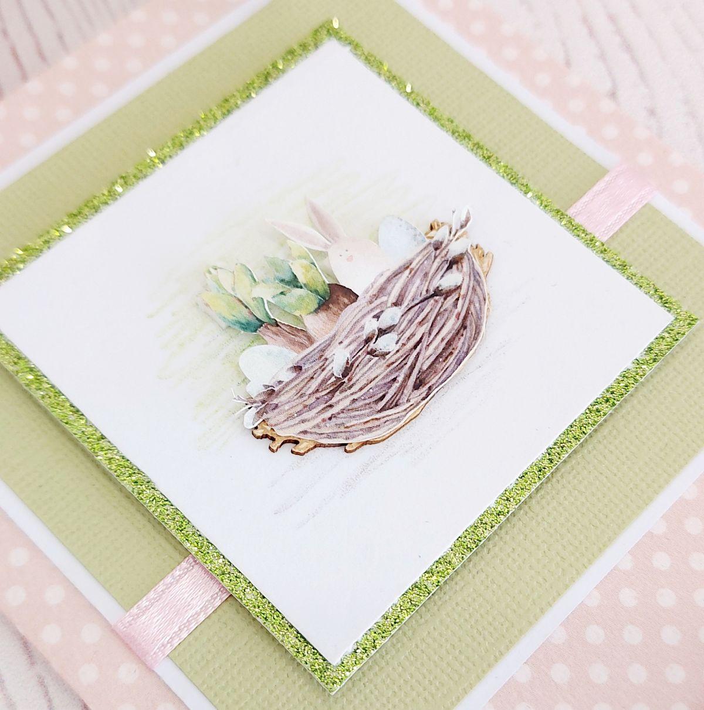 Húsvéti képeslap madárfészekkel Budaházi Brigitta | Négy húsvéti képeslap scrapbooktechnikával