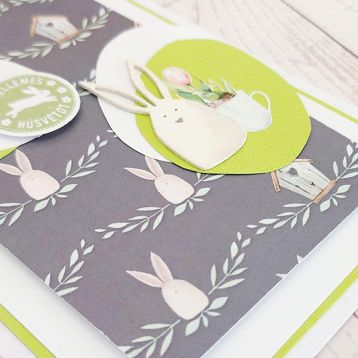 Nyuszis húsvéti képeslap Budaházi Brigitta | Négy húsvéti képeslap scrapbooktechnikával